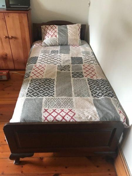 Antique single bed (with mattress)
