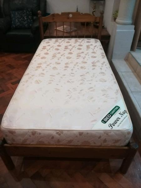 Wooden Base with Mattress... Single Bed
