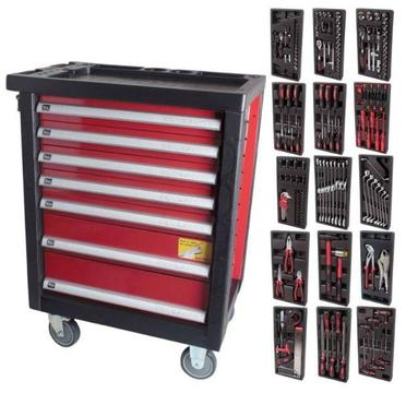 196PC TOOLBOX TROLLEY WITH 7 DRAWERS, WORKTOP AND 4 WHEELS(ONE WITH BRAKE) - FREE DELIVERY!!!