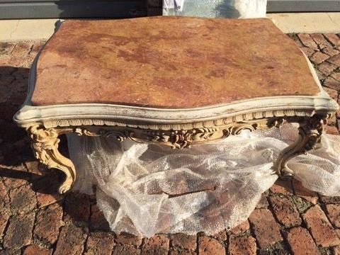 Marble and wood carved coffee table