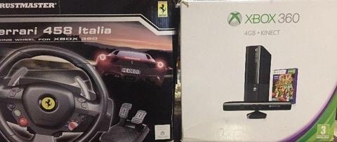 Xbox 360 + Kinetic + Thrustmaster 458 Italia Racing Wheel + Games
