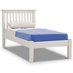 Wooden White Single Bed