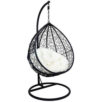 Black with white cushion swing chair