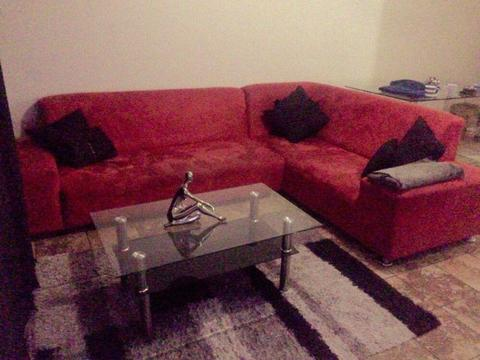 L shape couch, coffee table, tv unit, sleeper couch & office chair for sale