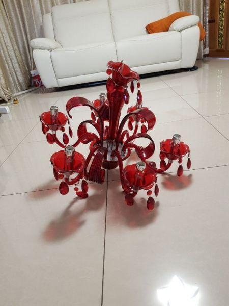 6 light chandelier red