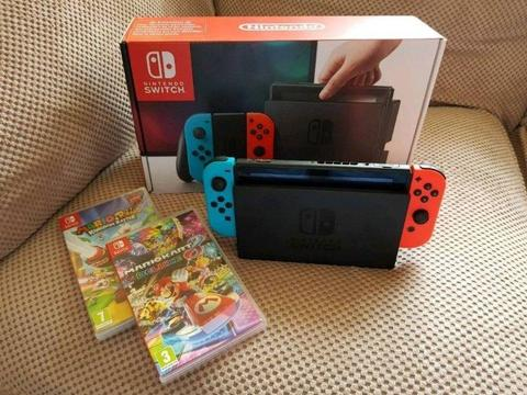 NINTENDO Switch Neon Red & Mario Kart 8 Deluxe Bundle plus Mario + Rabbids Kingdom Battle