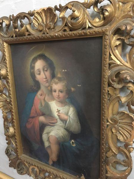 Antique Italian Oil Painting & Gorgeous Gold Leaf Frame