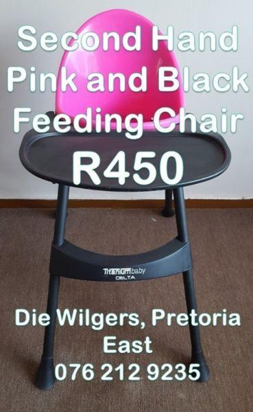 Second Hand Pink and Black Feeding Chair