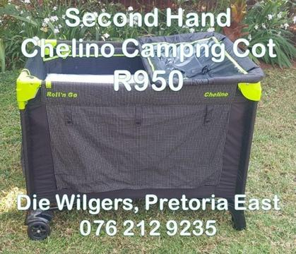 Second Hand Chelino Campng Cot (Green and Black)