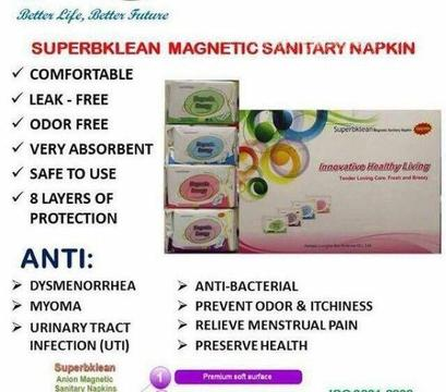 Organic Sanitary Pads with Magnetic Energy & Ions ( Anti-Bacterial/Viral/Fungal Properties)