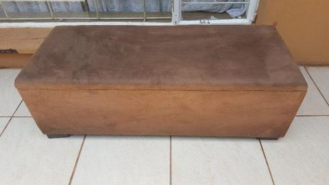 Brown covered blanket box