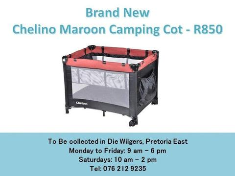 Brand New Chelino Maroon Camping Cot