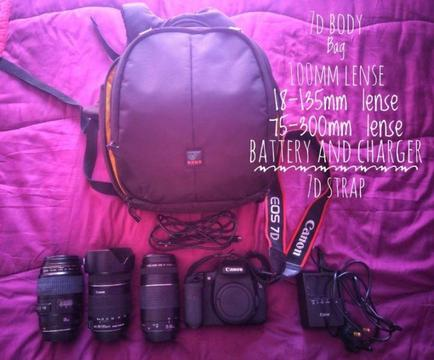 Canon 7d for sale with lenses & bag