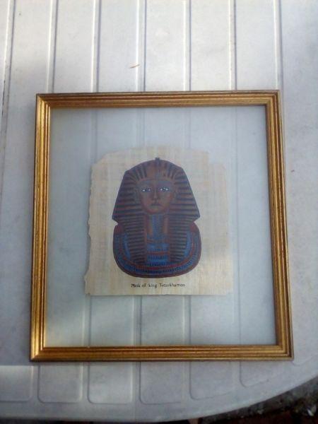 Egyptian papyrus Mask of king Tutankhamon