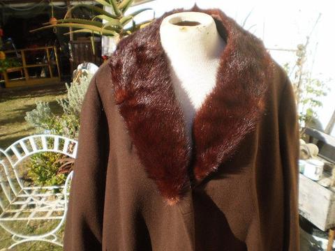 Vintage Stunning 1960's Grenair Of London Pure Wool Coat with large genuine mink collar