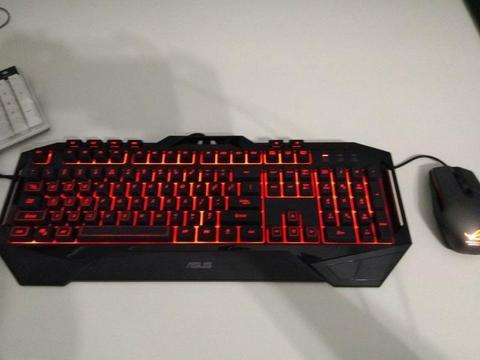 Asus backlit illuminated Gaming keyboard and mouse
