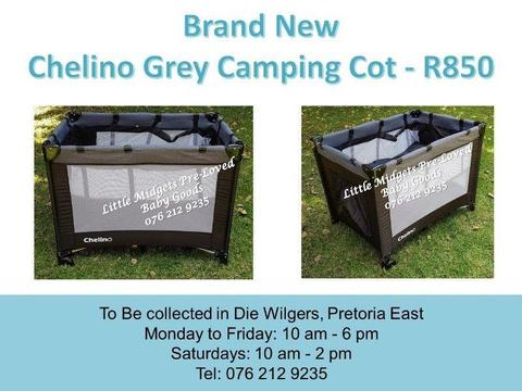 Brand New Chelino Black and Grey Camping Cot