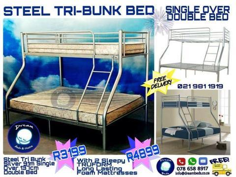 Tri Bunk Beds White Brick7 Sales