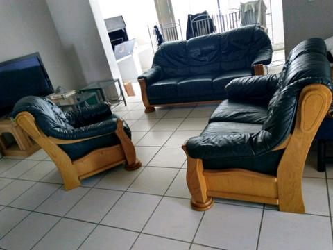 Solid Oak And Leather Lounge Suite Brick7 Sales