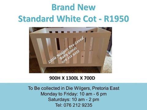 Brand New Standard White Cot