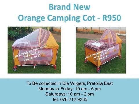Brand New Orange Camping Cot