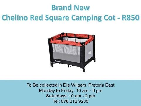 Brand New Chelino Red Square Camping Cot