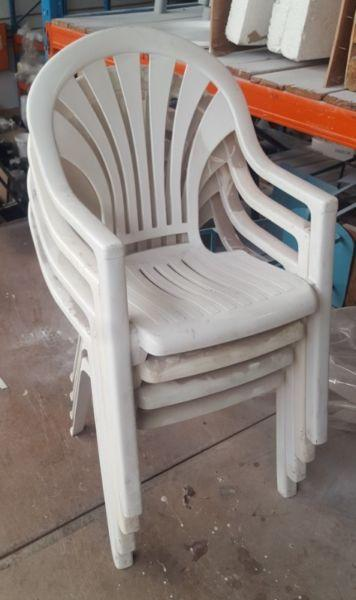 4 x White Plastic Garden Chairs for sale