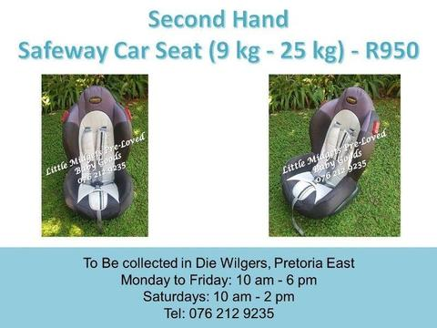 Second Hand Safeway Car Seat (9 kg - 25 kg) - White