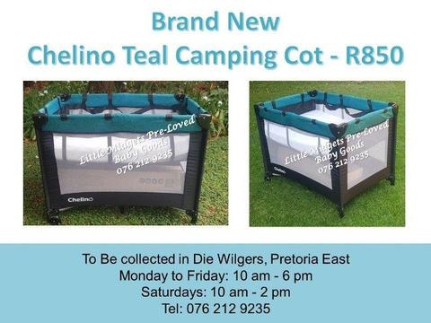 Brand New Chelino Teal Camping Cot