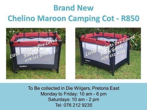 Brand New Chelino Maroon Camping Cot