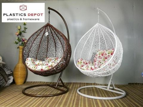 swinging egg shaped chair