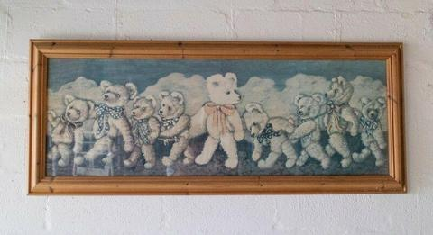 Antique Children's teddy bear print with Oregon pine wooden frame