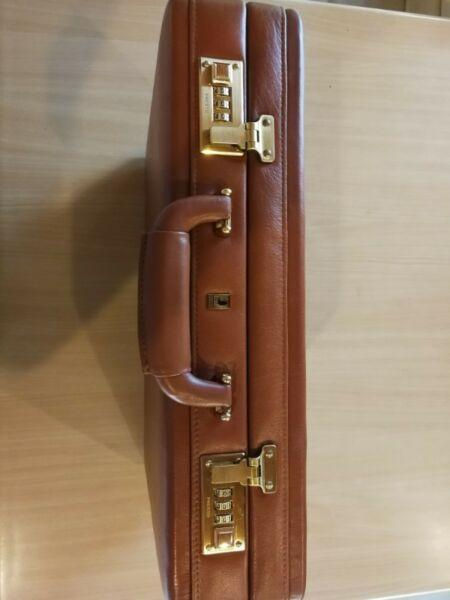 Busby Brown Leather Attaché Briefcase