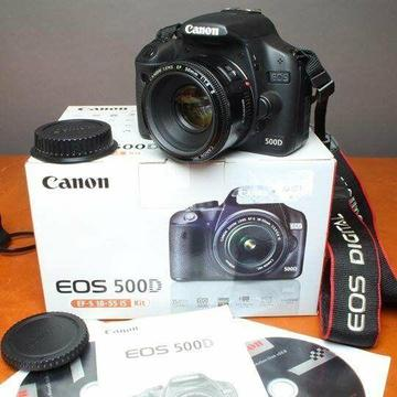 Canon 500d camera with Canon 50mm f1.8 lens