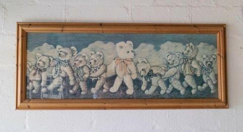Antique British Children's teddy bear print with Oregon pine wooden frame
