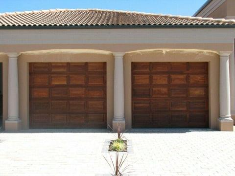 Single and double meranti garage doors in Germiston
