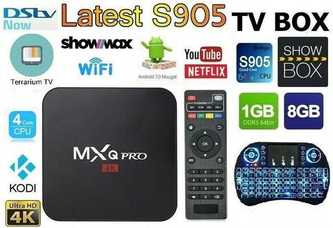 MXQ Pro 4K Smart TV Box, ANDROID 7.1 w i8 backlit Keyboard remote, DSTV NOW/SHOWMAX