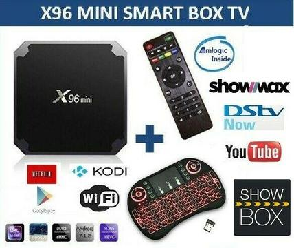 X96 mini TV Box w ANDROID 7.1 w i8 backlit Keyboard remote w mouse pad, DSTV NOW, SHOWMAX, NETFLIX