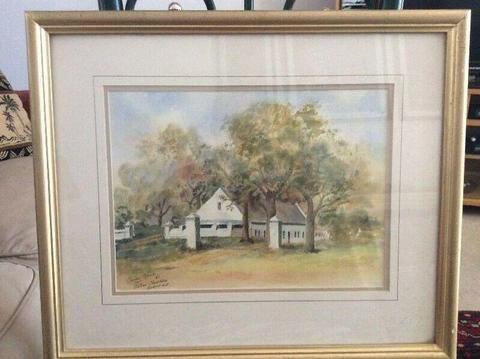 Framed Watercolor of Old Barn in Parel Vallei Somerset West by Gordon Spence (1985).