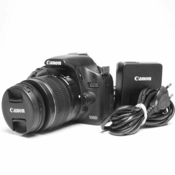 Canon 500d camera with Canon 18-55mm lens for sale.